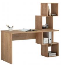 Schreibtisch mit 4 offenen Fächern in Chalet Eiche oder Weiß