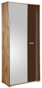 Schrank mit Spiegel 91x193cm, wildeiche massiv, Fronten Schoko