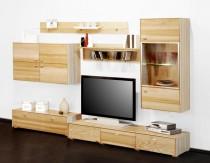 Wohwand Wohnzimmerwand Fernsehwand 6-teilig Esche Kernesche teil massiv geölt