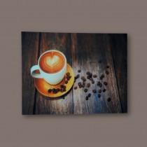 Spiegel Wandspiegel Bild Druck Retro Glasbild Kaffeetasse 70 x 50 cm