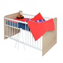 Babybett Kinderbett Babyzimmer sonoma Eiche - weiß