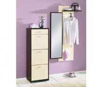 Garderoben-Set, Garderobe, Schuhschrank wenge-vanille