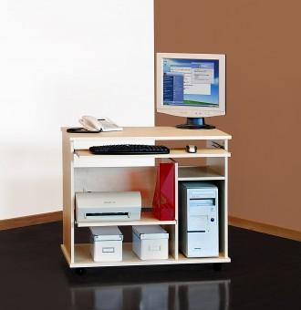 Computertisch / Schreibtisch / PC-Tisch auf Rollen / mehrere Farben ahorn