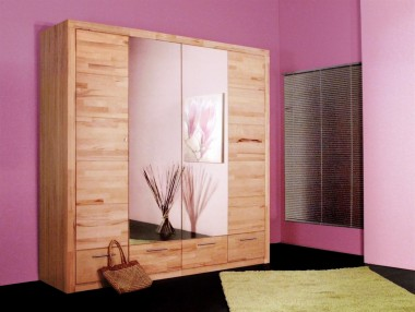 Kleiderschrank mit 2 Spiegeltüren und Schubladen kernbuche 2042