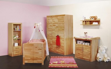 Babyzimmer Komplett-Set, 5-tlg., in kernbuche teil- massiv, geölt
