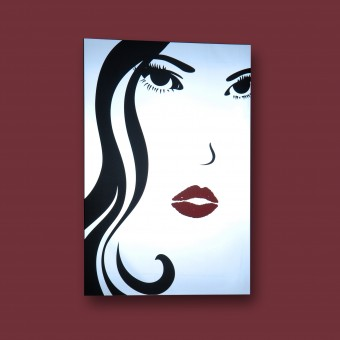 Spiegel Wandspiegel Bild Druck Retro Glasbild Face 70 x 50 cm