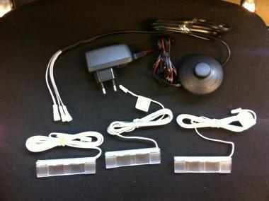 LED - Glasbodenbeleuchtung Vitrinen-Beleuchtung in weiß / blau 3er Set weiß