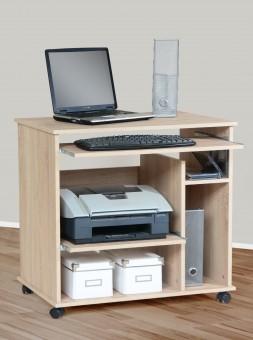 computertisch schreibtisch pc tisch auf rollen mehrere farben sonoma eiche m bel. Black Bedroom Furniture Sets. Home Design Ideas