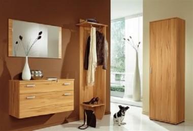 Garderobe mit Spiegel, 4-teilig, in kernbuche
