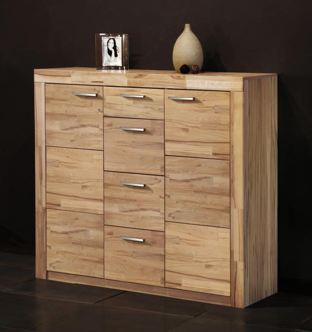 kommode 7148 5 anrichte sideboard highboard kernbuche struktur buche teil massiv ebay. Black Bedroom Furniture Sets. Home Design Ideas