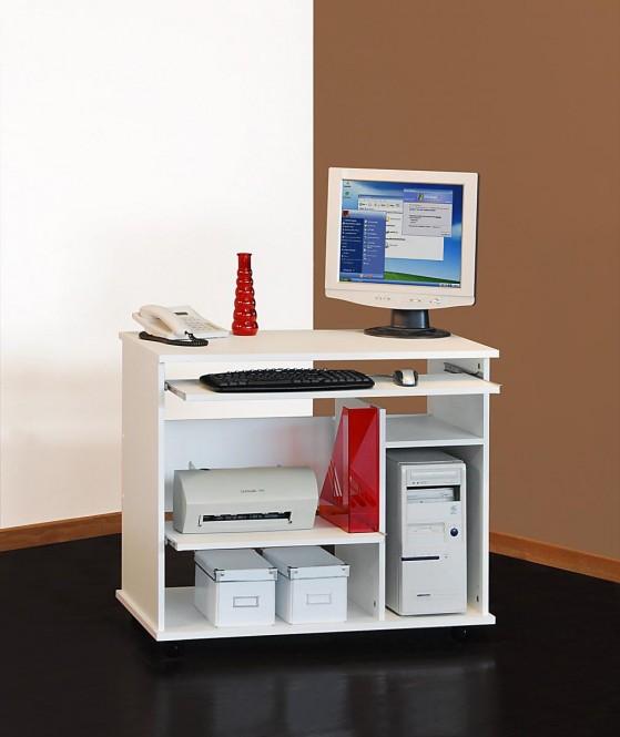 computertisch schreibtisch pc tisch auf rollen mehrere farben wei m bel. Black Bedroom Furniture Sets. Home Design Ideas