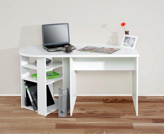 """Schreibtisch Computertisch """"RON"""" abgerundet weiß"""