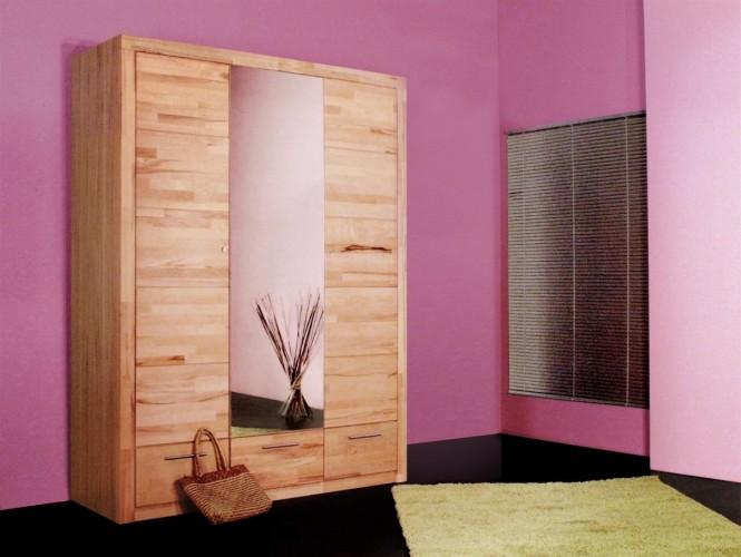Kleiderschrank mit Spiegeltür und Schubladen kernbuche 2042