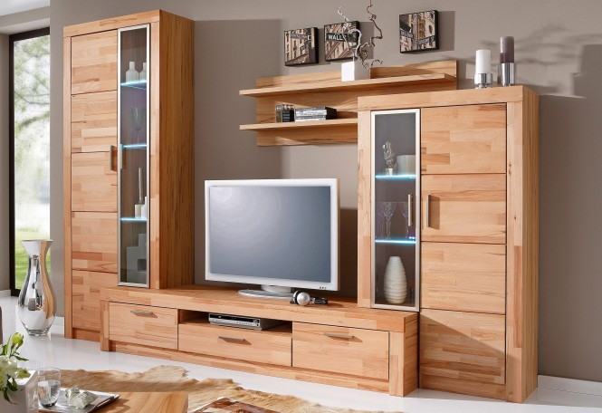 wohnwand davos in kernbuche teil massiv ge lt m bel. Black Bedroom Furniture Sets. Home Design Ideas