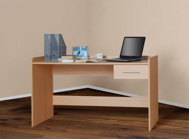 Schreibtisch computertisch h henverstellbar 116cm buche for Computertisch buche