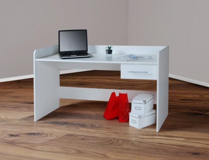 Schreibtisch Computertisch, höhenverstellbar, 140cm weiß