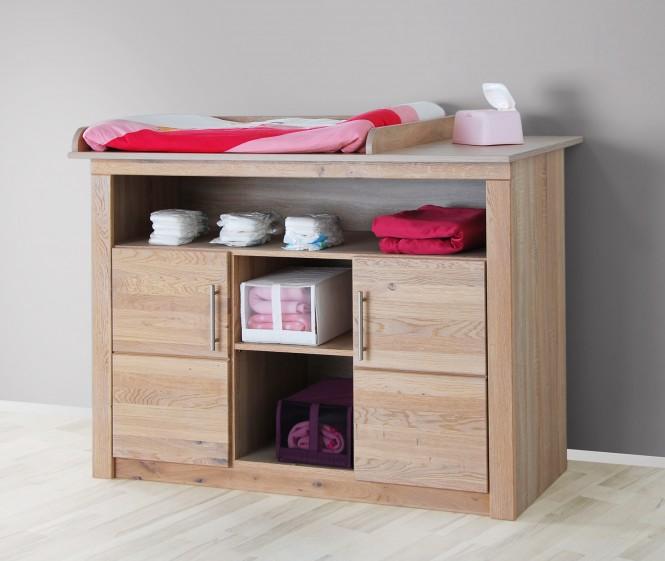 wickelkommode 129cm in sonoma eiche teil massiv ge lt. Black Bedroom Furniture Sets. Home Design Ideas