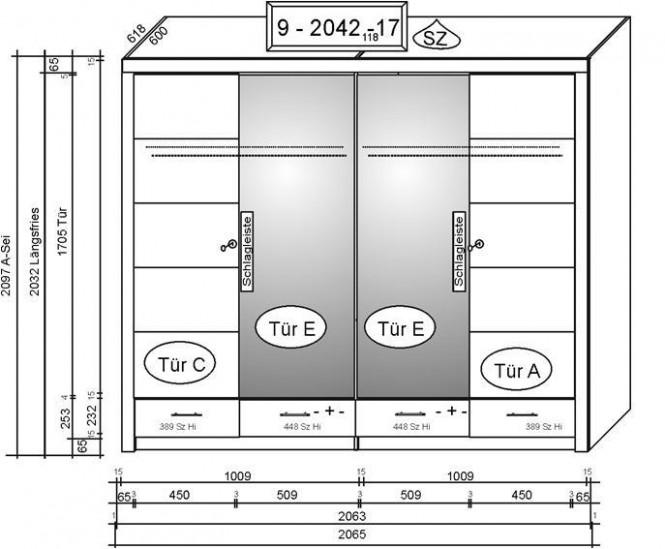 2042 kleiderschrank 4 t rig in kernbuche teil massiv ge lt m bel. Black Bedroom Furniture Sets. Home Design Ideas