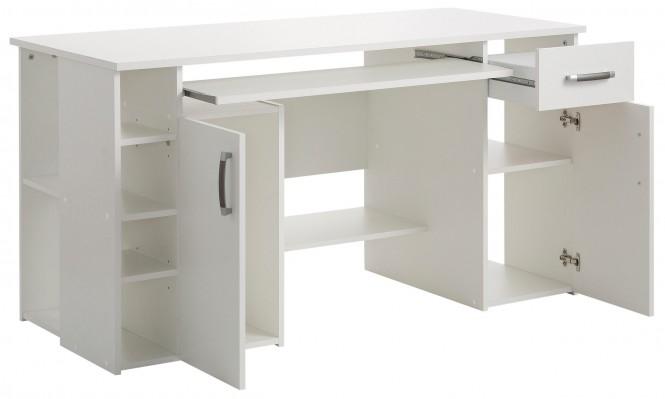 computertisch 4129 schreibtisch pc tisch b ro b rotisch tisch wei buche eiche ebay. Black Bedroom Furniture Sets. Home Design Ideas