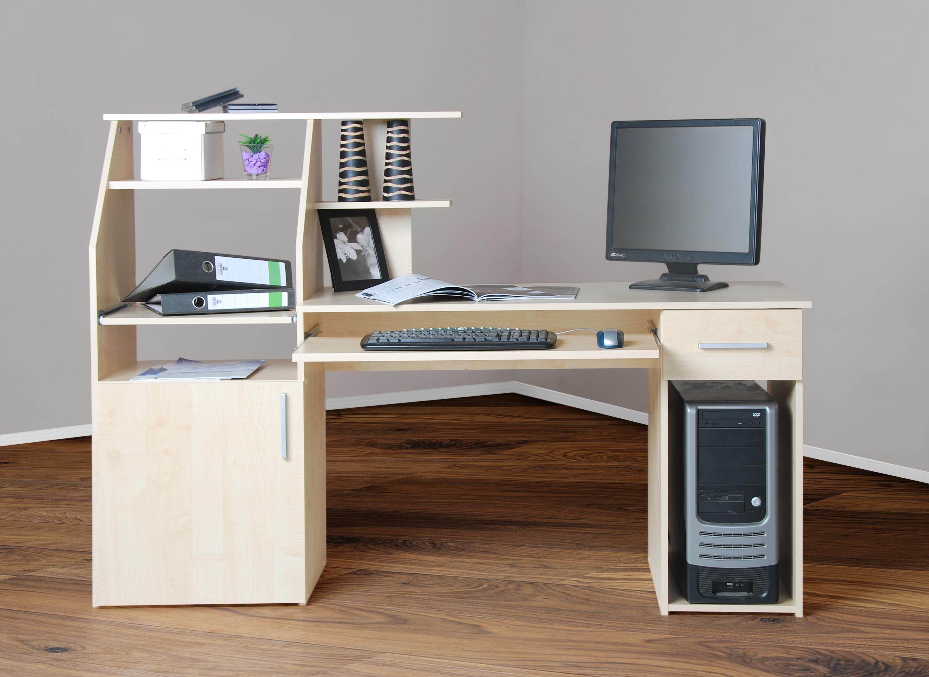 4031 computertisch schreibtisch pc tisch ahorn for Computertisch schreibtisch